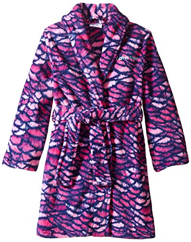 Calvin Klein Little Girls' Printed Plush Robe, Fuchsia, 5/6