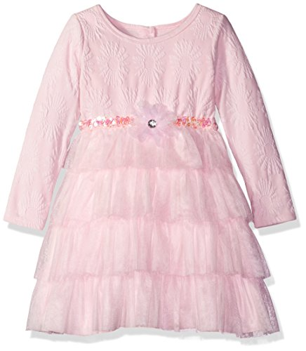 Sweet Heart Rose Little Girls' Knit Jacquard Dress with Mesh Tutu Tiers, Pink, 6