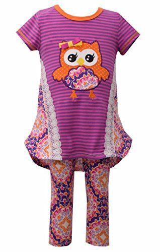 Bonnie Jean Purple Owl Tunic and Legging 2 Pc Pants Set, Little Girl, 2T