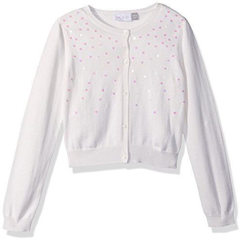 The Children's Place Big Girls' Cardigan, Simplywht, M (7/8)