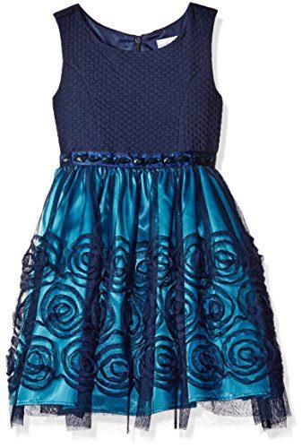 Sweet Heart Rose Little Girls' Sleevless Knit to Mesh Dress with 3D Flower Details, Blue, 4