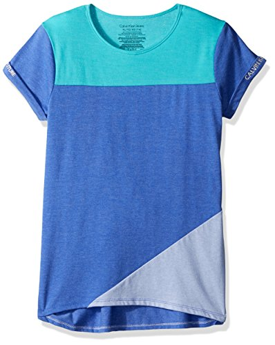 Calvin Klein Big Girls' Calvin Graphic Tee, Color Block Blue, Medium (8/10)