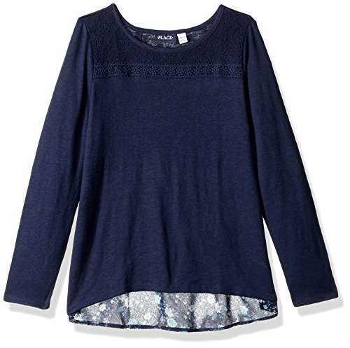 The Children's Place Big Girls' Knit Top with Layered Underlay, Tidal, M (7/8)