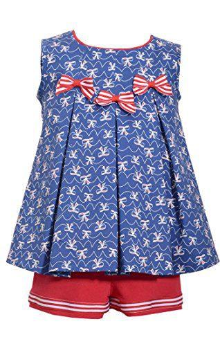 Bonnie Jean Girls Americana Patriotic 4th Of July Shorts Set (0m-4t) (4t)