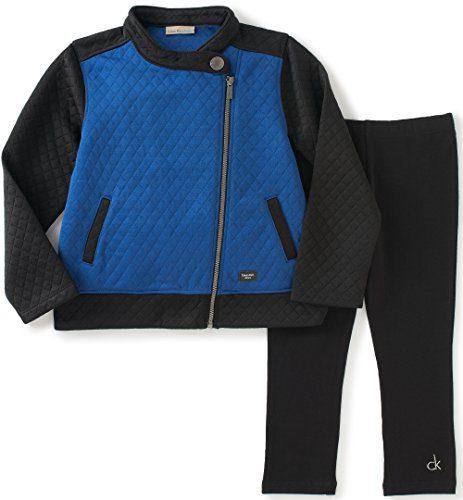 Calvin Klein Little Girls' Color Block Jacket with Leggings Set, Blue, 6X