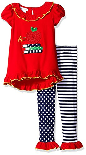 Bonnie Jean Little Girls' School Appliqued Knit Hi-Low Leggings Set, Red, 6