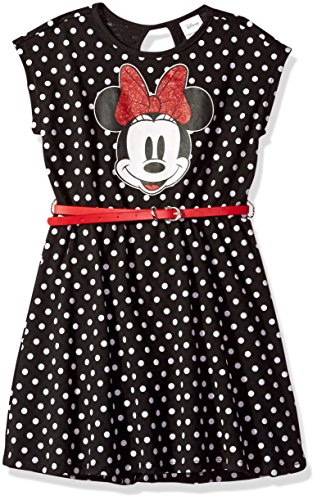 Disney Little Girls' Minnie Mouse Dress with Belt, Black, L-6x