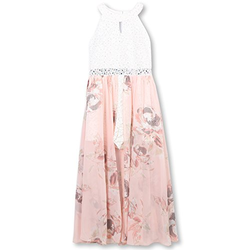 Speechless Girls' Big Printed Walk Through Romper Maxi Dress, Blush, 10
