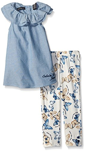 Calvin Klein Little Girls' Toddler Light Blue Chambray Tunic and Printed Jersey Leggings, Blue, 3T