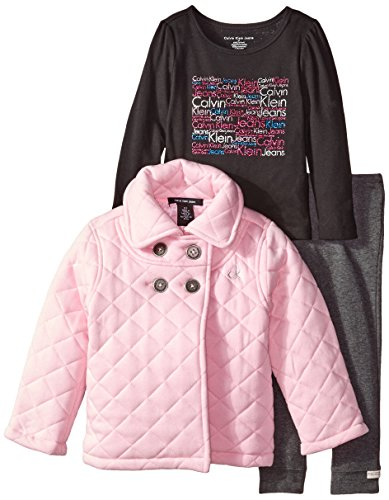 Calvin Klein Little Girls' Quilted Jacket with Tee and Pants, Pink, 3T