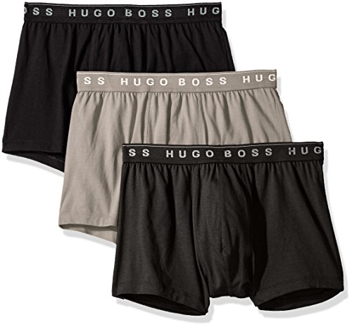 Hugo Boss BOSS Men's 3-Pack Cotton Trunk, New Grey/Charcoal/Black, Medium