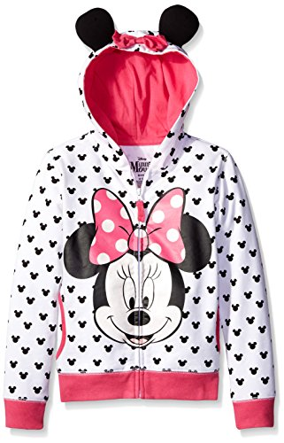 Disney Toddler Girls' Minnie Hoodie with Bow and Ear, White, 3T