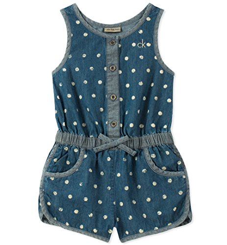 Calvin Klein Little Girls' Romper, Print/Dark Wash Blue, 6