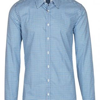 Gucci Men's Blue Vichy Check Print Slim Fit Button Down Dress Shirt, Blue, 15