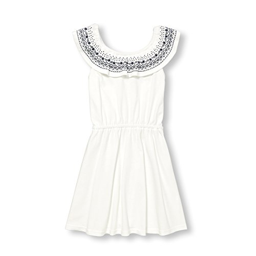 The Children's Place Big Girls' Off Shoulder Dressy Dresses, Simplywht, L (10/12)