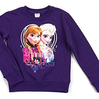 Disney Frozen Little Girls' Anna and Elsa Crew Neck Long Sleeve Top, Purple Rush, 5/6