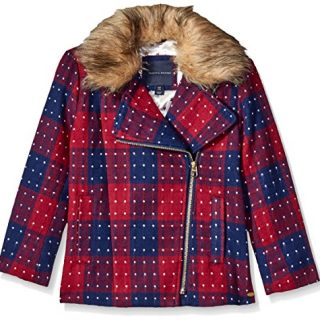 Tommy Hilfiger Big Girls' Short Wool Car Coat, Red Berry, X-Large/16