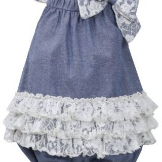 Bonnie Jean Blue Ivory Bow Shoulder Tier Lace Chambray Romper/Jumpsuit BL2BU, Blue, Little Girls 2T-6X, LG-BU, Sleeveless-Coverall