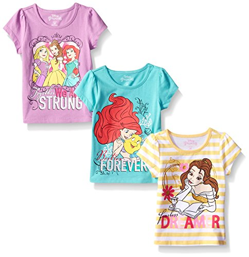 Disney Little Girls' 3 Pack Princess T-Shirts, Yellow, 5