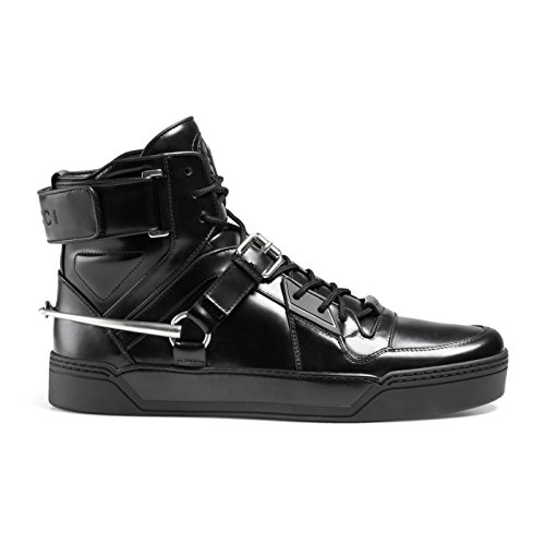 Gucci Men's Black Shiny Leather GG Horsebit High Top Sneakers Shoes, Black, US 11.5 10.5