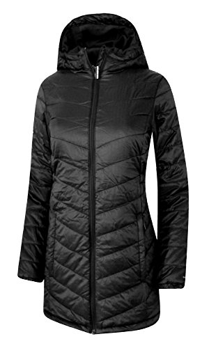 Columbia Youth Girls Morning Light Omni Heat Long Hooded Jacket Coat Puffer (M 10/12, Black)