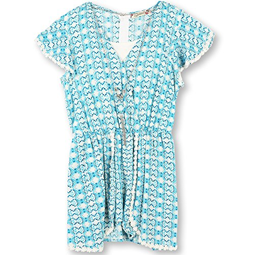 Speechless Big Girls' Skorted Romper, Ivory/Blue, L