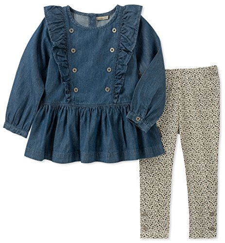 Calvin Klein Toddler Girls' 2 Pieces Tunic Legging Set, Dark Wash/Print, 3T