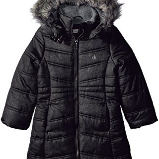 Calvin Klein Toddler Girls' Long Puffer Jacket, Anthracite, 2T