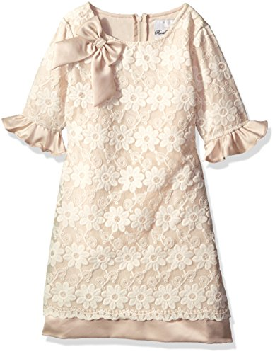 Rare Editions Little Girls' Floral Shift Dress, Ivory, 5