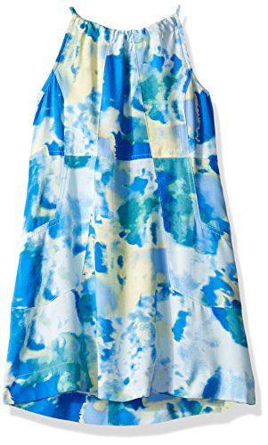 Calvin Klein Little Girls' Printed Halter Dress, Jelly Fish, 6