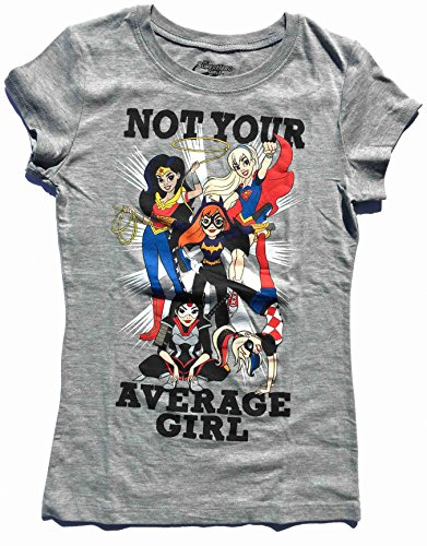 DC Super Hero Girls Not Your Average Girl Heather Gray Tee Shirt (Girl Sizes 4-16) (Large 10/12)