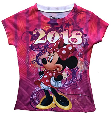 Disney Girls Youth Fashion Top 2018 Celebrate Minnie Dated Sublimated Top (Large)