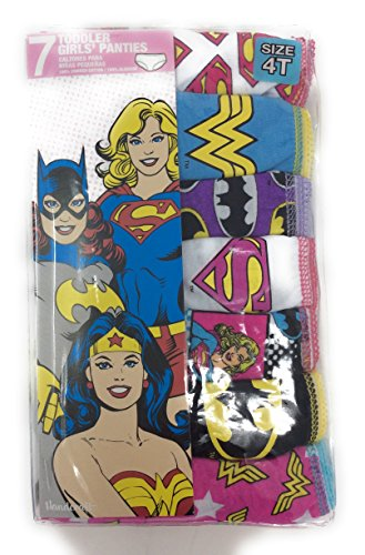 DC Comics Justice League 7-Pack Girls Panties Underwear Wonderwoman Supergirl Batgirl Size 4T
