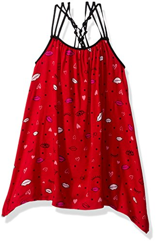Calvin Klein Little Girls' Asymmetrical Flounce Dress, Red, 5