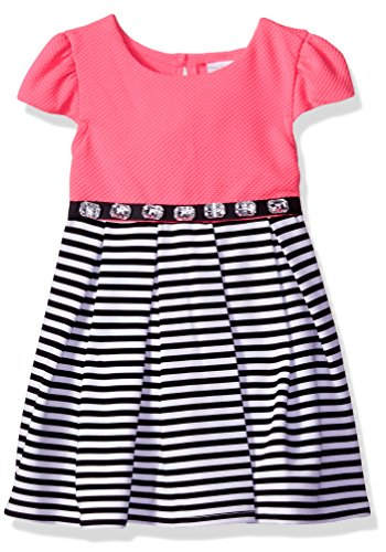 Sweet Heart Rose Little Girls' Striped Crinoline Dress with Rhinestone Waist, Pink/Black/White, 6