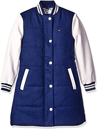 Tommy Hilfiger Big Girls' Baseball Jacket, Flag Blue, Large/12/14