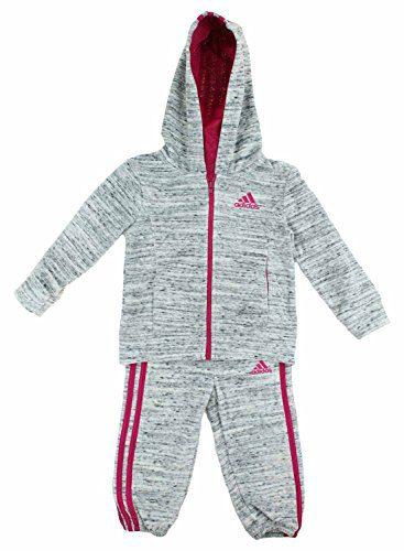 adidas Girls 2 Piece Jacket Pants Velor Tracksuit Set (Light Grey, 5)