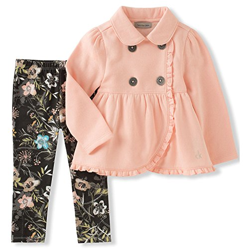 Calvin Klein Big Girls' Jacket Set, Peach, 7