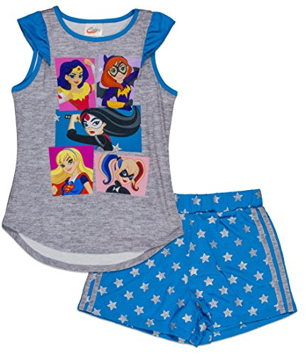DC Comics Big Girls' Super Hero 2-Piece Pajama Short Set, Gryblu, 7/8