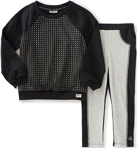 Calvin Klein Little Girls Sweatshirt with Leggings Set, Black, 6