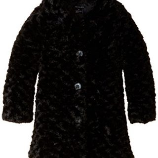Calvin Klein Little Girls' Toddler Colored Faux Fur Jacket, Black, 3T