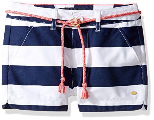 Tommy Hilfiger Big Girls' Rugby Stripe Short with Rope Belt, Flag Blue, 8