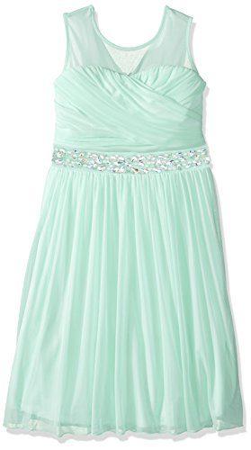 Speechless Big Girls' Illusion Shirred Sweatheart Top Dress, Pistachio, 12