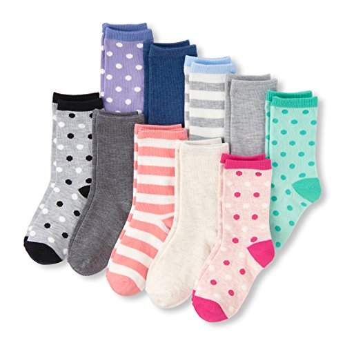 The Children's Place Big Girls' 10 Pack Dot and Stripe Crew Socks, Multi Clr, L 3-6