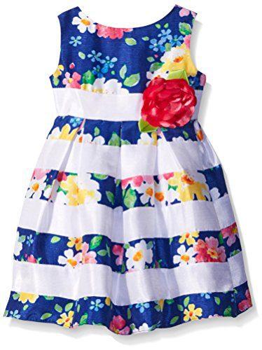 Sweet Heart Rose Little Girls Striped Floral Shantung Dress, Blue/Multi, 4