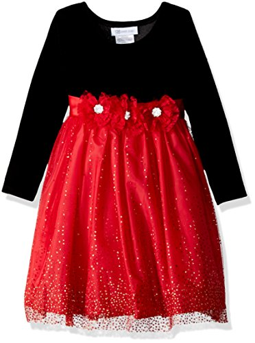 Bonnie Jean Toddler Girls' Little Long Sleeve Stretch Velvet Party Dress, Black/Red, 4T
