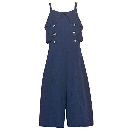 Bonnie Jean Big Girls Navy Ruffle Accent Stud Adorned Sleeveless Jumpsuit 7