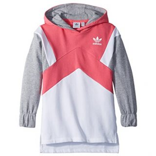 adidas Originals Kids Girl's Modern French Terry Hoodie (Little Kids/Big Kids) Real Pink/White/Medium Grey Heather Large