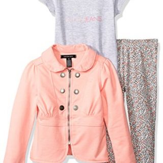 Calvin Klein Little Girls' Toddler 3 Piece Twill Jacket, T-Shirt, and Pant Set, Gray, 3T