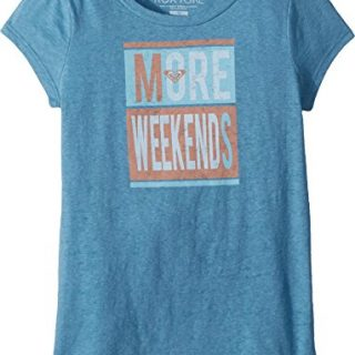 Roxy Big Girls' Weekend Crew T-Shirt, Storm Blue, 10/M